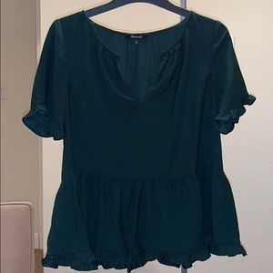 Madewell loose-fit peplum style top - forest green